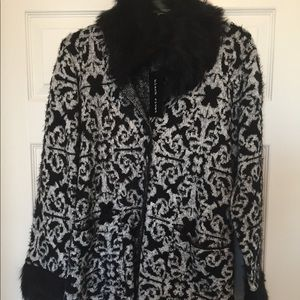 Black Rivet Fur Coat
